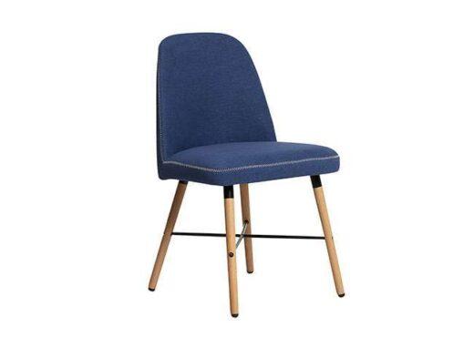 silla mullida azul con pespunte en contorno patas madera nordico 612SI0244