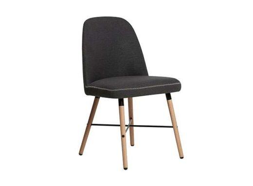 silla gris oscuro mullida pespunte contorno patas madera nordico 612SI0241