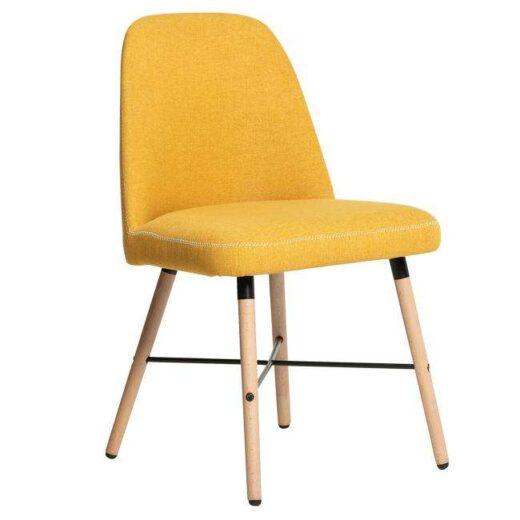 silla amarillo pespunte contorno patas madera nordico 612SI0242