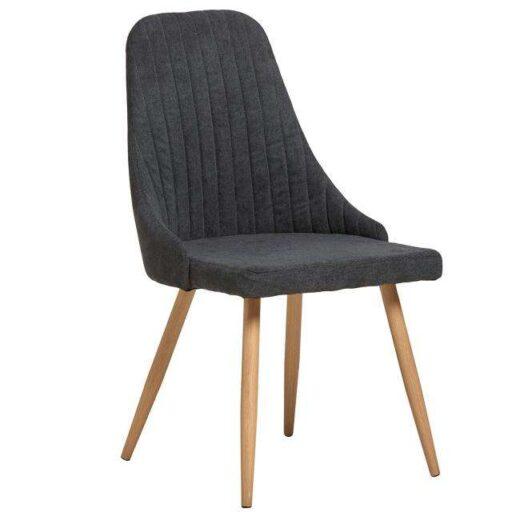 silla comedor negra asiento curvo tapizado patas roble 612SI0204
