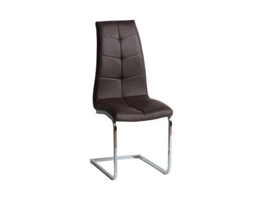 silla chocolate pata voladiza acero tapizado con costuras original 612SI0644