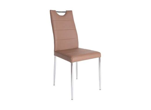 silla piel costuras capuchino horizontales 4 patas cromadas 612SI0602
