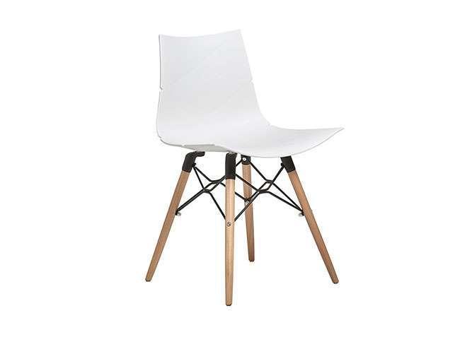 Sillas de pl stico con patas de madera estilo nordico for Silla blanca patas madera