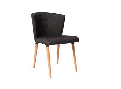 Silla revestida con 4 patas de madera estilo sencillo contemporáneo nórdico