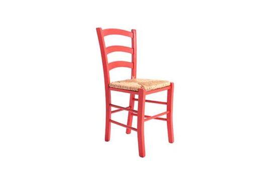 silla rustica roja madera y asiento enea 612SI0111