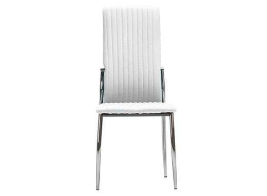 silla salon comedor blanco tapizado piel pespuntes verticales patas metal 612SI0582