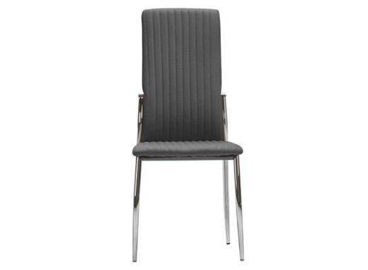 silla salon gris comedor tapizado piel pespuntes verticales patas metal 612SI0581