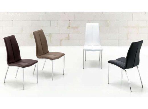 silla pu tapizado patas cromadas 054SI005