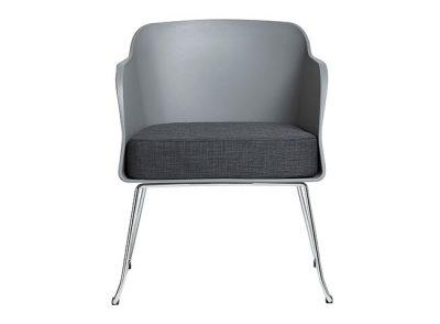 Sillón de poliuretano de 2 patas en cromo estilo moderno (asiento acolchado)