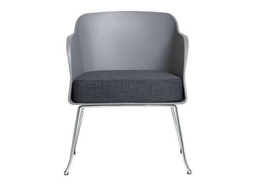 sillon gris de poliuretano 2 patas cromo moderno 612SI0822