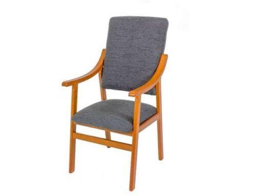 sillon fijo de madera y tapizado antracita 241SI0033