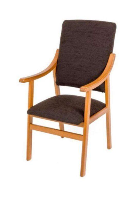 sillon fijo tapizado de madera y chocolate 241SI0034
