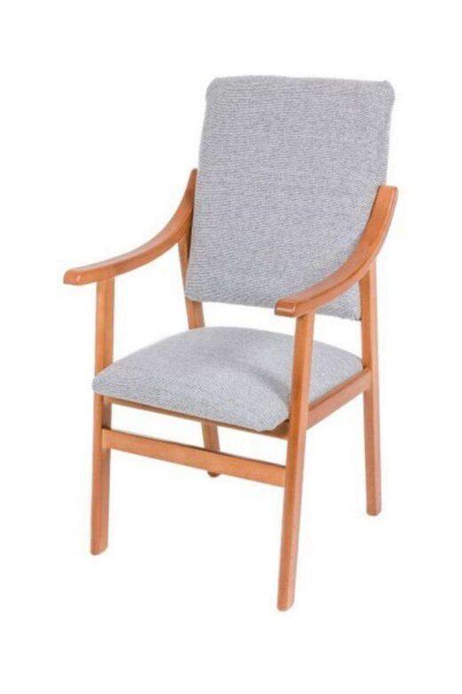 sillon de madera fijo y tapizado gris 241SI0032