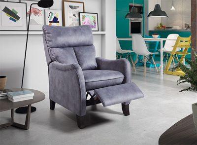 Sillón relax manual estilo clásico-moderno con patas