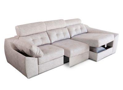 Sofá beige moderno con chaise longue (También en otros colores)