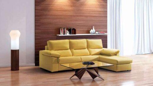 sofa cama amarillo chaise longue con arcon 004CA0011