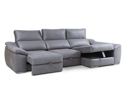 Sofá chaise longue con asientos deslizantes mediante ruedas