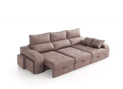 Cheslong con arcón elevable, asientos deslizantes y puffs integrados