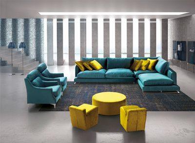 Sofá desenfundable azul turquesa modelo cheslong (Disponible en otros colores)