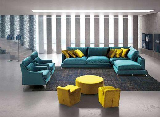 sofa azul turquesa desenfundable cheslong 053DI0031