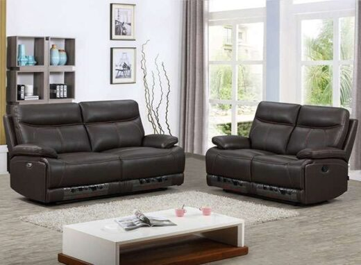 sofa marron piel relax electrico 252CH0021