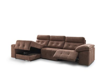 Sofá eléctrico de 3 plazas con cheslong