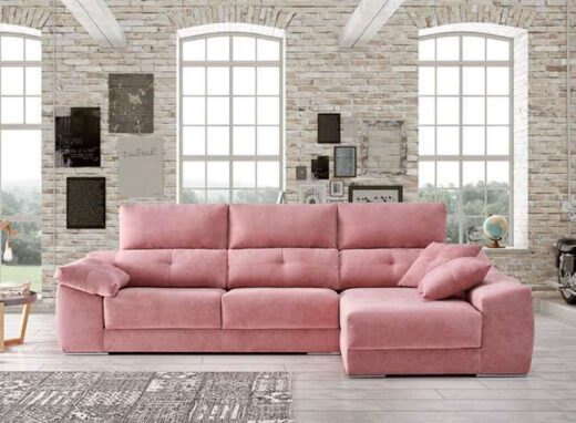 sofa cheslong reclinable asientos deslizantes rosa 083QU0052