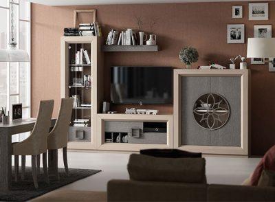 Salón compuesto por vitrina de cristal, aparador, mueble TV y estantería estilo contemporáneo