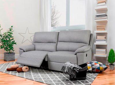 Sofá de 3 plazas relax eléctrico tela gris