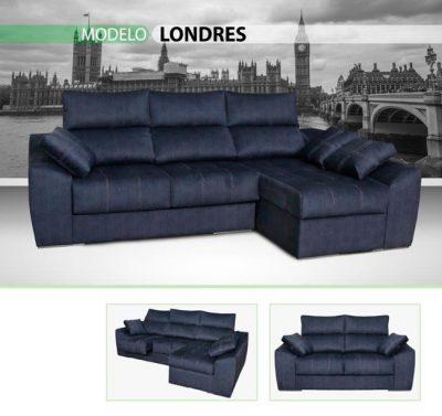 Sofá azul chaise longue con pespuntes