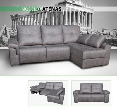 Cheslong gris con 2 asientos relax eléctricos
