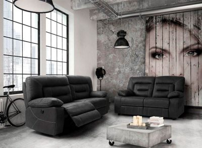 Sofá gris oscuro relax 3 plazas