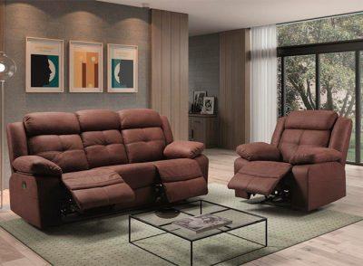 Sofá marrón moderno relax eléctrico con capitoné