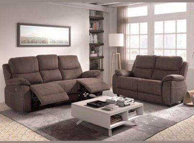 Sofá tres plazas dos asientos relax eléctricos forma curvada
