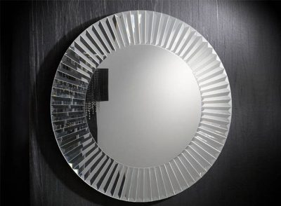 Espejo redondo con marco de lunas biseladas