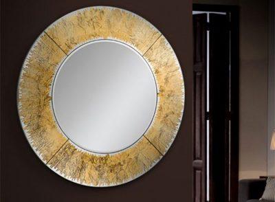 Espejo redondo con marco de pan de oro