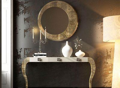 Mesa consola con patas curvas en oro viejo + Espejo redondo