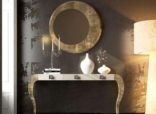 mesa consola espejo redondo patas curvas oro viejo 295EN0121