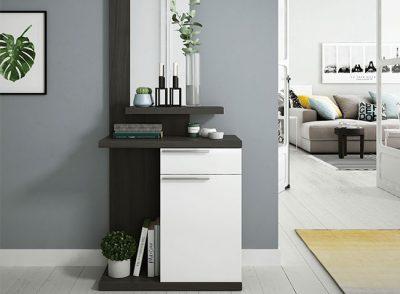 Mueble recibidor estrecho modular con espejo, cajón y puerta