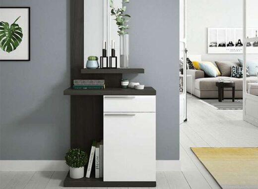 recibidor mueble modular estrecho con espejo cajon puerta 206KE6746
