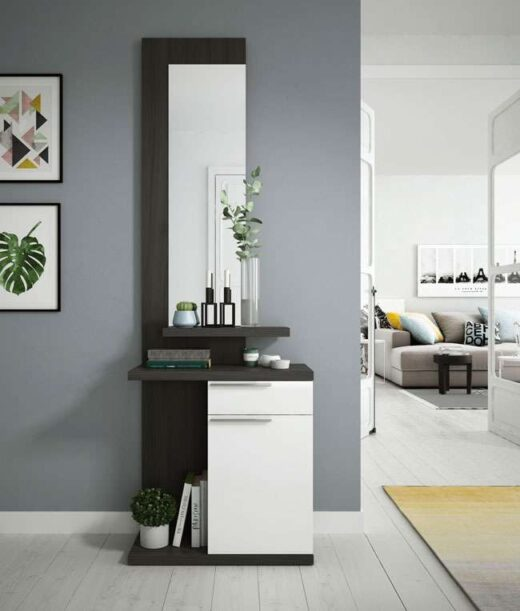 mueble estrecho recibidor modular con espejo cajon puerta 206KE674