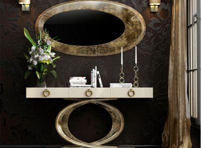 Mueble recibidor neoclasico con pata ovalada en oro mate + Espejo ovalado