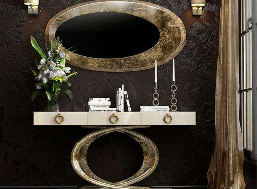 mueble neoclasico recibidor pata ovalada oro mate 295EN0011