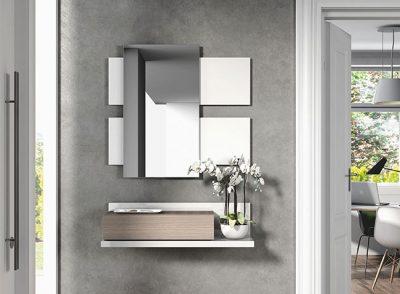 Recibidor contemporáneo compuesto por módulo de colgar con espejo