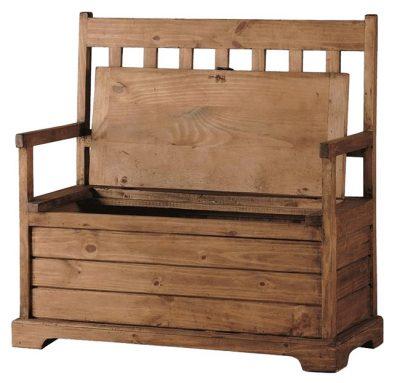 Banco madera rústico con baúl para almacenaje, respaldo y brazos