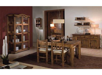 Conjunto de mesa de 2 metros con patas onduladas y 4 sillas de madera y loneta