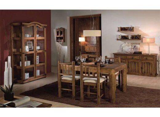 conjunto-rustico-sillas-madera-tapizadas-y-mesa-rectangular-de-4-patas-tronco