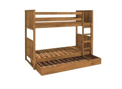 Litera rústica de madera con cama nido
