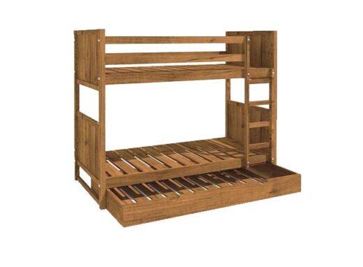 litera rustica de madera con cama nido