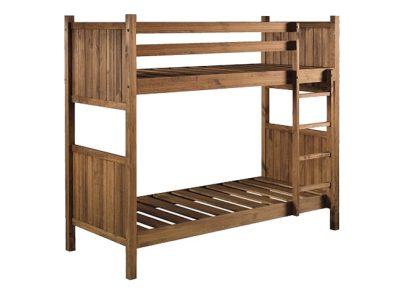 Litera rústica de madera maciza líneas rectas